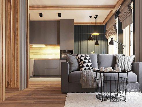 Дизайн интерьера квартиры - студии в ЖК Солнечный