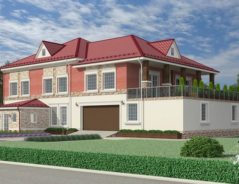 Дизайн фасада дома 532 м2 и бани 152 м2 г. Арамиль